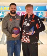 Tournament Manager Eric Tackett (left) congratulates Jakob Sisk after the latter won the fourth annual Empire Open bowling tournament on Sunday, March 19, at Rainbow Lanes, in Huntington.