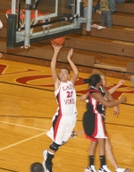 Huntington North High School varsity player Tajsha Shrock attempts a layup during the team's game against Bishop Luers, on Tuesday, Dec. 15. The Lady Vikings lost the  match-up 50-39.