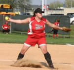 Huntington North pitcher Brianna McClellan prepares to deliver a pitch during varsity softball action on Friday evening, April 30, against Blackford. The (7-4) Lady Vikes won the game by a score of 8-1.