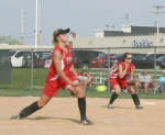 Huntington North High School pitcher Maureen Lund slings one toward home plate in the Lady Vikings' 6-0 loss to visiting Woodlan on Thursday, April 15.