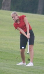 Lady Viking golfer Maureen Lund flies one toward the green in competition Wednesday afternoon, Sept. 9, against Marion and Concordia.