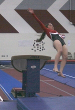 Huntington North High School gymnast Olivia Eckert prepares for the landing after her vault at the Lady Vikings' meet with visiting Carroll on Wednesday, Jan. 20.