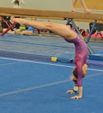 Huntington Gymnastics Academy member Brooke Clark performs at the HGA Fun in the Sun Gymnastics Championship on Sunday, March 4, at Huntington North High School.