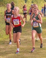 Chloe Scheiber (middle), a senior on the Huntington North High School girls' varsity cross country team, competes in the elite race at the Marion Invitational on Saturday, Sept. 2, at Indiana Wesleyan University. Scheiber finished 45th among team runners in 19:59.3 to help the Lady Vikings place ninth in the 17-team field with a score of 256.