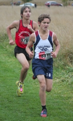 Huntington North runner Logan Worsham (left), competing in the Marion Regional Cross Country meet on Saturday, Oct. 19, was the sixth runner tiebreaker for the Vikings to give them the regional crown.