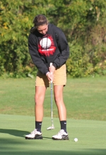 Sarah Fryman, a sophomore on the Huntington North High School girls' golf team, concentrates on her putt on the seventh hole at LaFontaine Golf Club, in Huntington, during the Huntington North Girls' Golf Sectional on Saturday, Sept. 21.