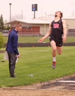Huntington North's Ricky Haught springs off the board at the beginning of his flight in the long jump on Saturday, April 27, at the Lime City Relays at Kriegbaum Field. Haught won the event and the Vikings as a team finished third among eight squads.