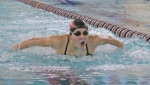 Morgan Cogar, a senior on the Huntington North High School girls' varsity swim team, swims the butterfly portion of the 200-yard individual medley during a meet against visiting Wabash on Tuesday, Jan. 8. The Lady Vikings won the meet, 102-66.