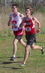 Jackson Wright (right), a freshman on the Huntington North High School boys' cross country team, runs alongside Southwood's Chase Guenin at the Marion Sectional, held Saturday, Oct. 10, at the Indiana Wesleyan University Cross Country Course. The Vikings placed fourth and advanced to the regional.