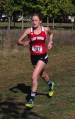 Hannah Stoffel, a senior on the Huntington North High School girls' cross country team, competes at the Marion Sectional on Saturday, Oct. 10, at the Indiana Wesleyan University Cross Country Course. Stoffel won the race with a clocking of 18:42.47, which set a new school record.