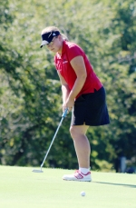 Ashley Hall, a senior on the Huntington North High School girls' golf team, putts on the second hole at Norwood Golf Course during the Huntington North Sectional on Monday, Sept. 19. The Lady Vikings placed second with a score of 376, which granted them advancement to the East Noble Regional.