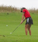Huntington North sophomore Amara Eckert hits on the first hole at the East Noble Girls' Golf Regional on Saturday, Sept. 24, at Cobblestone Golf Course. The Lady Vikes finished last at the meet as their season ended.