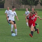 Huntington North junior Hannah Tillett controls the ball while Blackford defender Josselyn Schick tries to keep up action from the Lady Vikings' 8-0 win on Tuesday afternoon at HNHS. Tillett scored three more goals on the afternoon, giving her 26 for the season.