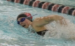 Huntington North freshman Laney Shaw churns through the water en route to winning the 200-yard freestyle against Blackford on Tuesday, Dec. 6, at the Parkview Huntington Family YMCA.