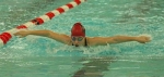 Huntington North sophomore Crosley Stanley churns through the water in the 100-yard butterfly at the Warsaw Girls' Swim Sectional on Thursday evening, Feb. 2. Although Stanley was not among those qualifying for finals or consolation finals this Saturday morning, several Lady Vikes will be competing for a chance to advance to the state meet next Friday and Saturday, in Indianapolis.