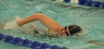 Bailey Harris, a junior on the Huntington North High School girls' swim team, churns through the water during the 100-yard freestyle at the preliminaries of the Warsaw Sectional on Thursday, Feb. 4.