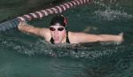 Huntington North's Alivia Eiting swims for the wall in the 100-yard butterfly against visiting Marion at the Parkview Family YMCA on Tuesday, Jan. 27. Eiting finished fourth as HNHS won, 100-70.