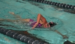 Huntington North junior Maggie Warpup competes in the 500-yard freestyle against visiting Fort Wayne Canterbury on Tuesday, Nov. 25, at the Parkview Huntington Family YMCA. Warpup placed second.