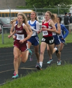 Huntington North junior Hannah Stoffel (No. 143) runs in the middle of the pack in the 1,600-meter run at the New Haven Girls' Track Sectional on Tuesday, May 19. Stoffel eventually placed second to earn one of her two advancements to next week's Marion regional.