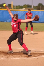 Huntington North pitcher Hannah Middlebrooks winds up to unleash a pitch against Fort Wayne North Side at the Homestead Softball Sectional on Tuesday, May 23. Middlebrooks threw three scoreless innings and knocked in three runs as the Lady Vikes won, 21-0.
