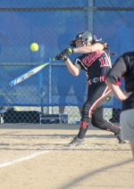 Mackenzi Cannici, a junior on the Huntington North High School softball team, gets a piece of the ball versus Homestead in the opening game of the Lady Spartans' sectional tournament on Monday, May 23. The Lady Vikings rallied late, but it wasn't enough and their season came to an end with a 10-8 loss.
