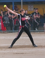 Huntington North pitcher Kendra Arnold gets ready to unleash a pitch against Jay County on Tuesday, May 26, at the Homestead Softball Sectional Tournament. The Lady Vikings crushed Jay County to move on to the championship game Thursday night, May 28.