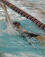 Huntington North's Keegan Mautz swims the backstroke leg during the 200-yard individual medley race against East Noble on Tuesday evening, Nov. 29, at the Parkview Huntington Family YMCA. Mautz earned second in the race but HNHS lost.