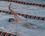 Huntington North sophomore Keegan Mautz does the backstroke leg in the 200-yard individual medley in a meet against Norwell on Tuesday, Jan. 17, a the Parkview Huntington Family YMCA. Mautz was runner-up in the race.