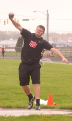 Jared Coolman, a senior on the Huntington North High School boys' varsity track team, heaves the shot put during the Lime City Relays on Saturday, April 29, at Kriegbaum Field. Coolman claimed third in the event with a throw of 43-10. The Vikings placed third at the meet with 94 points.