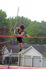 Gage Bustos, a sophomore on the Huntington North High School boys' track and field team, glides over the bar in pole vault during the Huntington North 9 & 10 Invitational, held at Kriegbaum Field on Saturday, May 14. The Vikings won the nine-team meet, which featured only freshmen and sophomores.