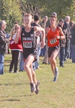 Huntington North runner Harrison Niswander competes at the Marion Boys' Cross Country Sectional on Saturday, Oct. 12, at Indiana Wesleyan University. Niswander finished third for HNHS and the Vikings as a a team qualified for regional next week.