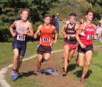 Huntington North senior Brock Spahr (right) is among a group of runners at the front of the pack at the Marion Boys' Cross Country Sectional on Saturday, Oct. 6. Spahr finished third to lead HNHS to a regional berth next week.