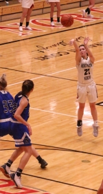 Huntington North guard Leah Campbell guns one from downtown in the Lady Vikings 42-20 win over visiting Northfield on Saturday night, Nov. 23.