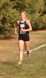 Huntington North sophomore Addy Wiley is way out front at the Marion Girls' Cross County Regional on Saturday, Oct. 19. Wiley won the individual title easily to help the Lady Vikings advance to next week's semi-state at New Haven.