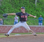 Huntington North pitcher Mason Anderson gets ready to fire the ball homeward in sectional action Wednesday night against Fort Wayne Wayne at Huntington University's Forest Glen Park. The Vikings won, 8-2.