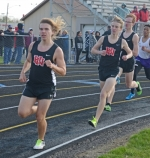 Viking 1,600-meter runners (from left) JJ Whicker, Isaiah Clampitt and Alex Bishop head around the track en route to a top-three sweep in the event against visiting New Haven on Wednesday afternoon, April 18.