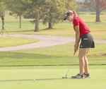 Huntington North High School sophomore Megan Stephan watches a putt head toward the hole at the Eastbrook Golf Sectional Tournament on Saturday, Sept. 21, at Arbor Trace Golf Club. The Lady Vikes finished second as a team to qualify for regional next week.