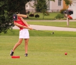 Huntington North golfer Amara Eckert hits a tee shot during her round against visiting Bishop Dwenger on Monday, Aug. 13, at Norwood Golf Course. Eckert fired a personal-best nine-hole round of 1-under-par 34 to lead the Lady Vikes to a big win.
