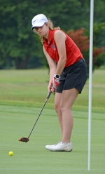 Huntington North sophomore Alexandra Hoch watches her putt curve on the 18th hole as she competes in the Huntington North Girls' Golf Invite on Tuesday, Aug. 6.