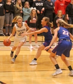 Huntington North's Leah Cambpell moves the ball toward the basket aginst Whitko in action Friday night, Nov. 16, at North Arena. The Lady Vikings won, 49-31.