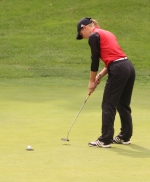 Huntington North senior Amara Eckert watches her putt curl into the hole during action at the East Noble Golf Regional at Noble Hawk Golf Links in Kendallville on Saturday, Sept. 22. The Lady Vikes' season ended when they placed fifth.