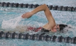 Huntington North freshman Victoria Donaldson swims the first leg of the 200-yard freestyle relay during a meet against visiting Norwell on Tuesday, Jan. 15.