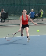 Huntington North junior Jenna Henline hustles to return a shot in her first singles match against Carrington Bultemeier of Bellmont in first round action at the Norwell Girls' Tennis Sectional on Wednesday, May 16. The Lady Vikes won 5-0 to advance to face Adams Central tonight, Thursday.