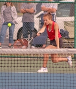 Huntington North third singles player Tarah Zumbrun returns a shot to Norwell's Grace White during the championship meet of the Norwell Girls' Tennis Sectional on Saturday morning, May 19. Zumbrun beat White and the Lady Vikes went on to win the sectional.
