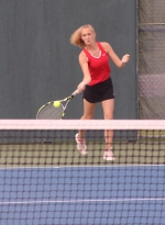 Huntington North junior Jule Nogaj returns a shot at No. 1 doubles against Concordia in action at the Carroll Girls' Regional on Tuesday, May 22. Nogaj and her partner, Macy Wohlford, won 6-0, 6-0, to lead the Lady Vikes to the win.