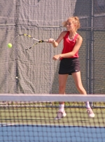 Jule Nogaj, a junior on the Huntington North High School girls' tennis team, competes in the No. 1 doubles match against Carroll in the championship match of the Carroll Regional on Wednesday, May 23. Nogaj and her doubles partner, Macy Wohlford, lost the match, 0-6, 0-6. The Lady Vikings' season ended with an 0-5 defeat.