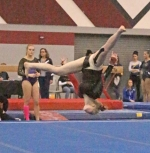 Huntington North gymnast Danielle Korporal performs her floor exercise routine at the Huntington North Gymnastics Regional on  Saturday, March 3. Korporal won the event and is headed to the state meet on Saturday, March 10.