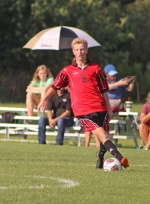Peyton Miller, a junior on the Huntington North High School boys' varsity soccer team, maneuvers with the ball during a game against visiting Columbia City on Tuesday, Aug. 28. Miller scored two goals and led the Vikings to a 3-2 victory.