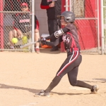 Huntington North hitter Sydney Selvage drives the ball against visiting Blackford on Friday, April 27, in the Lady Vikings' 10-3 win.