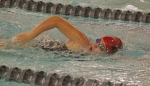 Huntington North swimmer Crosley Stanley competes in the 100-yard freestyle in a dual meet against visiting Bluffton on Tuesday evening, Nov. 14, at the Parkview Huntington Family YMCA.
